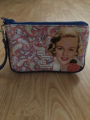 - ANNE TAINTOR Revisited Cosmetic Purse Makeup Bag Inner Beauty Is For Amateurs