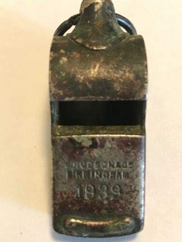 British Whistle Military Dated 1939 J Hudson WD Marked Escargot Pea Whistle