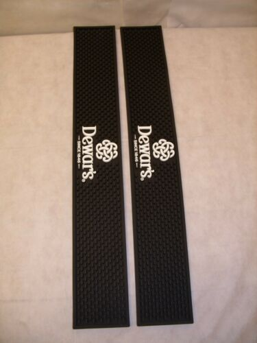(2) Dewars Scotch Whiskey - Barware Rubber Bar Rail Spill Mat - Black - NEW