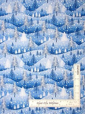 Christmas Hills - Christmas Trees Snow Hills Blue Cotton Fabric Windham Santas Helpers By The Yard