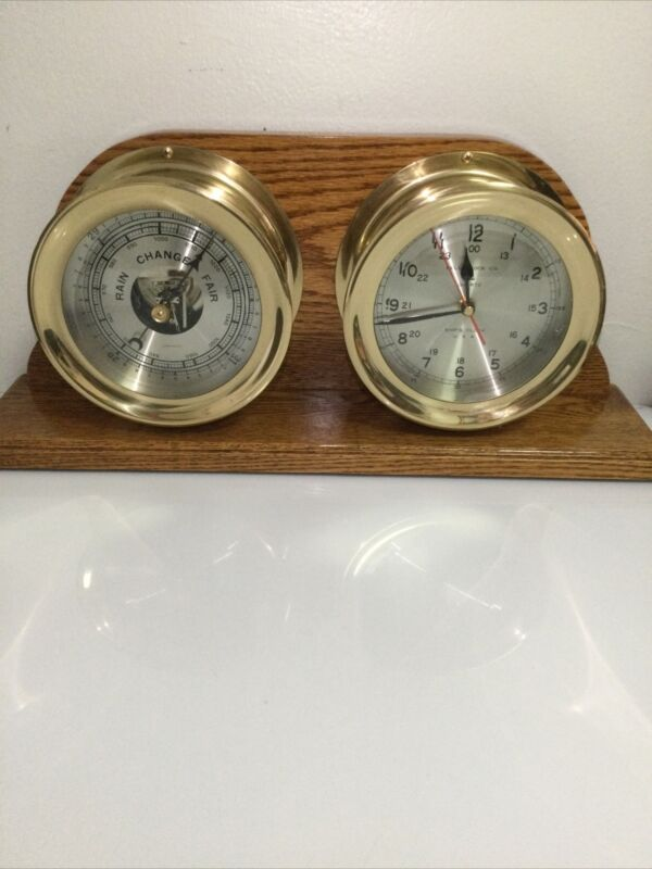 Vintage Rare Stunning Oak Stand BRASS SHIP COMPENSATED BAROMETER AND CLOCK