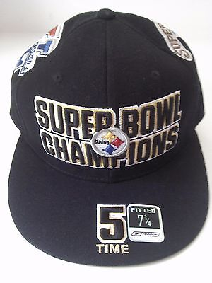 e608cc59158 Pittsburgh Steelers Reebok 5-Time Super Bowl Champs Fitted Size 7 1 4 Cap  Bell
