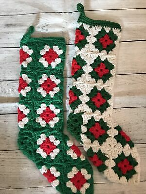 "Vtg RED GREEN White HAND CROCHETED GRANNY SQUARE CHRISTMAS STOCKINGS Pair 16"" L"