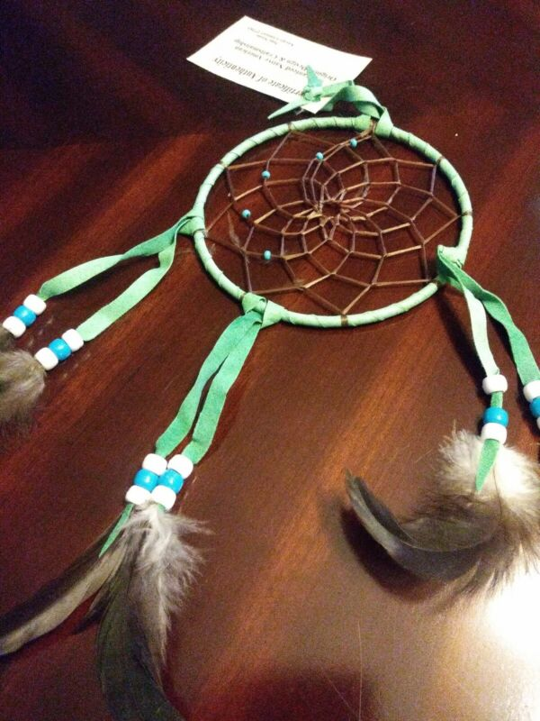"Authentic Native American Navajo Buckskin Mint  Dream Catcher 5"" Mae Stone #9328"