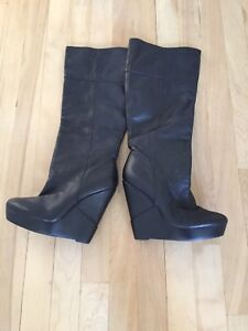 Genuine Black Leather Wedge Boots