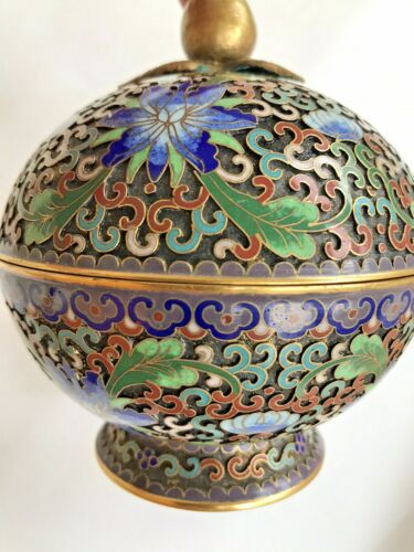 Old Vintage Chinese Champleve Cloisonne Footed Enamel Gourd Round Shape Box 5""