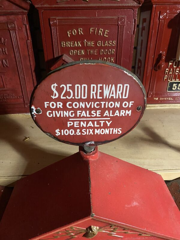 Detroit Fire Porcelain Gamewell fire alarm box top sign, false alarm fine