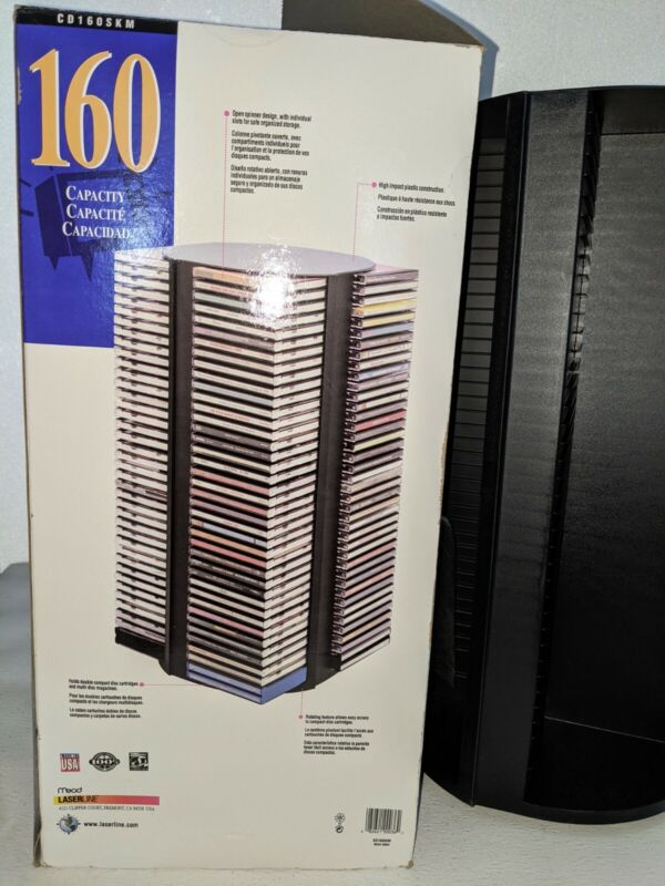 Laserline 160 CD 4-sided Black Carousel Storage Rack Spinning Tower (never used)