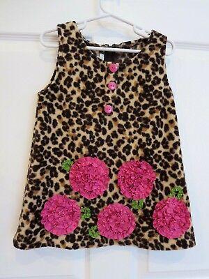 Leopard Print w/ Pink Rosettes Fleece Jumper Dress Size 4T by Bonnie (Fleece Print Jeans)