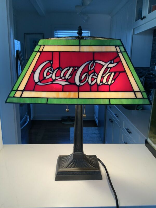 Vintage Coca Cola Genuine Leaded Stained Glass Lamp Tiffany Style RARE Oblong