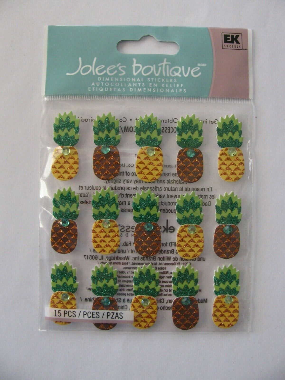 Jolee s Boutique 15 Pc Dimensional Stickers PINEAPPLE NIP FREE SHIPPING - $4.69