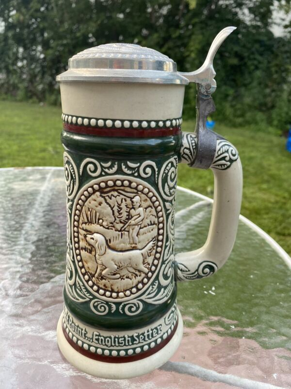 VINTAGE 1978 AVON THE STRIKE RAINBOW TROUT AT POINT ENGLISH SETTER BEER STEIN B