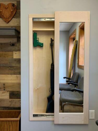 Mirror Safe in wall, Hidden storage concealment cabinet rifle gun, unfinished