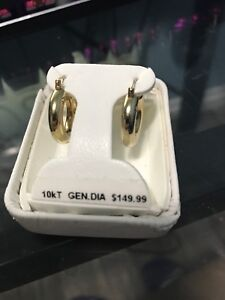 10kt Gen.dia gold earring