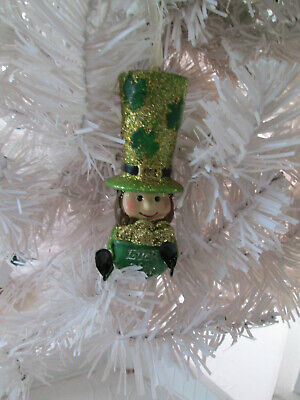 St Patrick's Day Pot Of Gold (St. Patrick's Day Leprechaun Ornament holding Pot of Gold, Luck of the Irish)