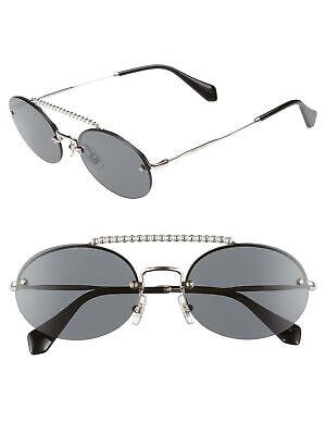 Miu Miu SMU 60T 1BC-1A1 Sunglasses Silver Frame Gray Lenses (Miu Miu Shades)