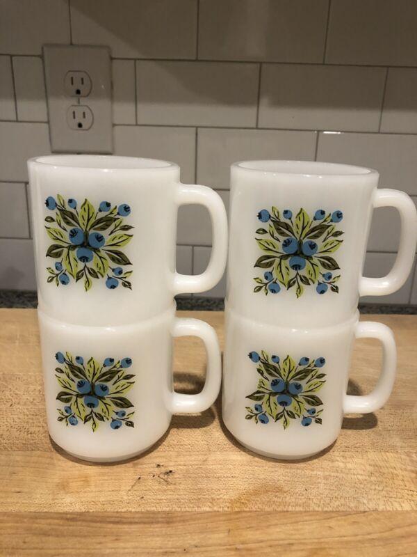 Vintage Glasbake Jeanette Blueberry Milk Glass Coffee Mugs set of 4
