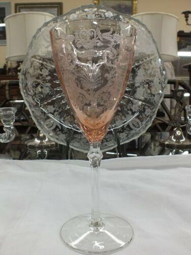 """Elegant Fostoria """"Versailles"""" Pink Water/Wine Goblet Stemware 8 1/4"""" 9 oz"""