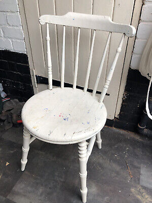 Antique Ibex Swedish Farmhouse Kitchen Dining Painted Spindle Back Penny Chair