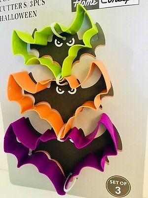 3 METAL HALLOWEEN BATS COOKIE CUTTERS PURPLE ORANGE KIWI GREEN - Kiwi Halloween