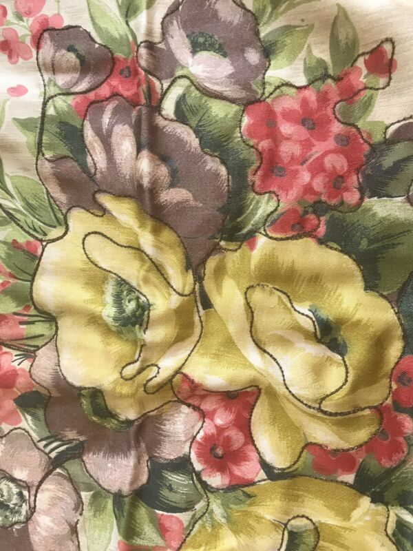 Vintage French Pillow Cover Floral Cream Silk Velvet Corners Tapestry Metalwork