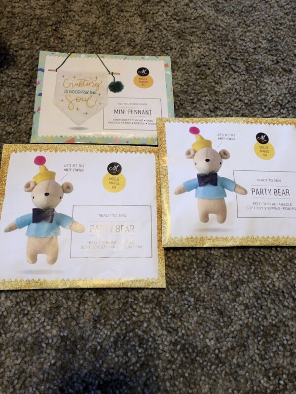 New Mollie Makes Kits  Party Bear Kit X2 And Mini Pennant All New
