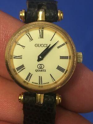 Vintage 80's Gucci Stacked 18kt Gold Plated Ladies Watch For Parts