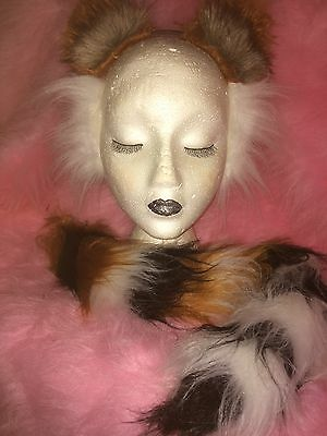 Realistic Tiger Ears And Tail Fancy Dress Set Chestnut, White & Black One Size](Realistic Tiger Costume)