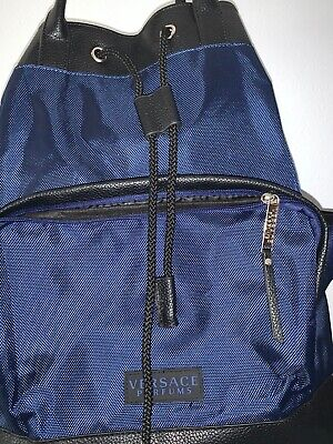 Used Versace Parfums Backpack Black/Blue Drawstring/Handles Sport Rucksack Bag