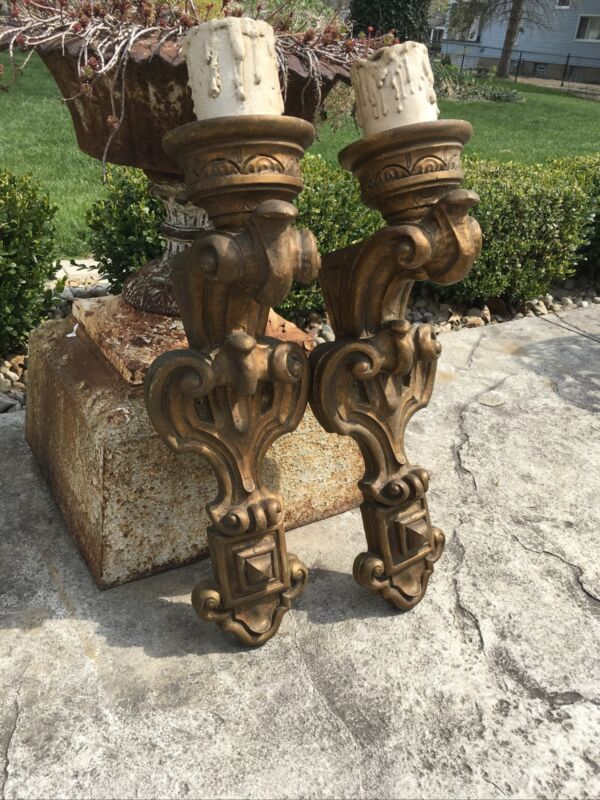 VINTAGE RENAISSANCE REVIVAL WALL SCONCES MATCHING PAIR WOOD TONE DUNGEON GREAT