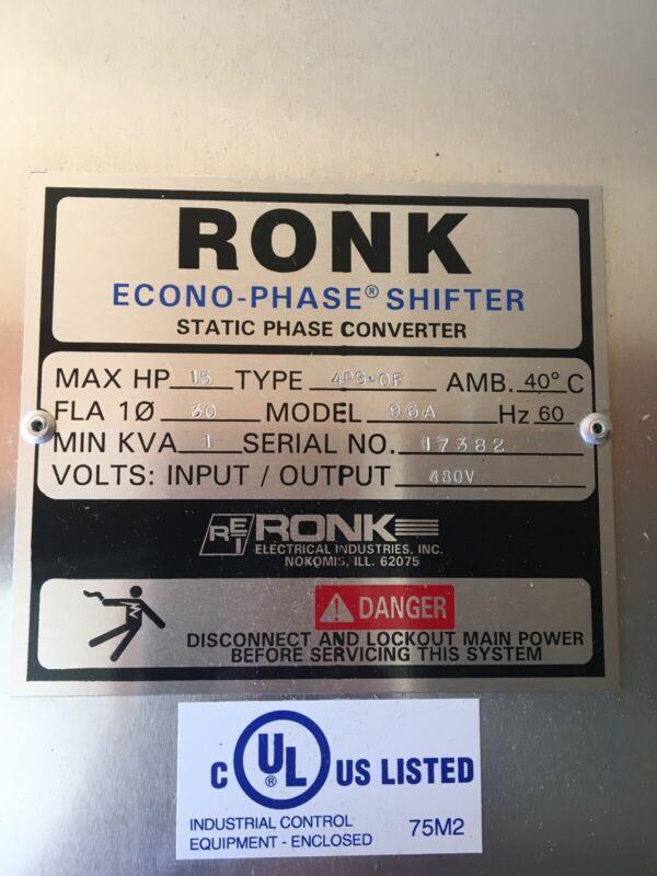 Ronk Phase Shifter 15HP 480V