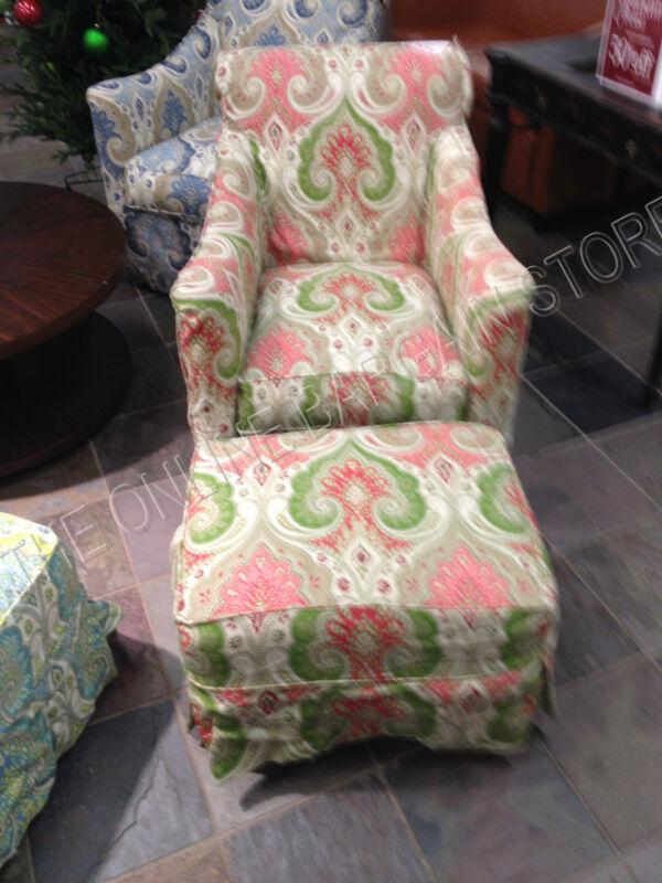 Grandinroad Ann Rocker Rocking Chair SWIVEL w/ ottoman Latika Geranium Nursery