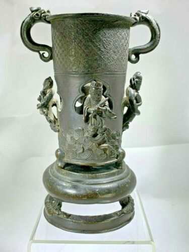 Antique Chinese  Very Rare Four Wise Man 3D Bronze Censer with Dragon Handles