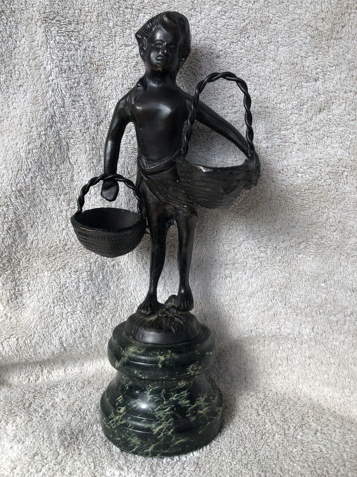 Vintage French Bronze Statue Sculpture, Child With Baskets, Marble Base  - $86.99