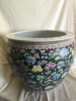 (LARGE Chinese Porcelain Fish Bowl Vase Painted 18 1/2 ht and 16 1/2 W)