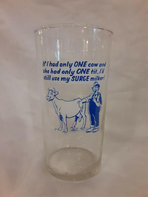 Vintage Federal Surge Milker Advertising Dairy Cow Glass Tumbler