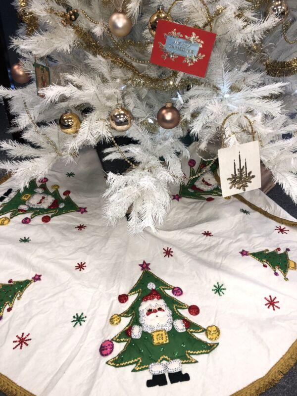 """Vintage Bucilla Christmas Tree Skirt 136"""" LARGE Santa Applique Felt Handmade"""