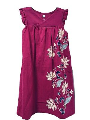 Tea Collection Size 6 Girl Dark Pink Purple Flower Floral Graphic Dress