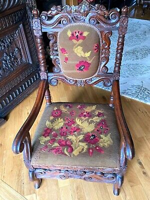 C19th Low Countries Carved Armchair, floral tapestry