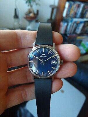 Waltham 17 Jewel Blue Dial Men's Date Function Chrome Case Wristwatch Excellent