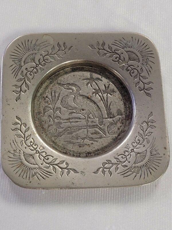 Rare Antique Victorian Art Nouveau Bird Engraved small Tray