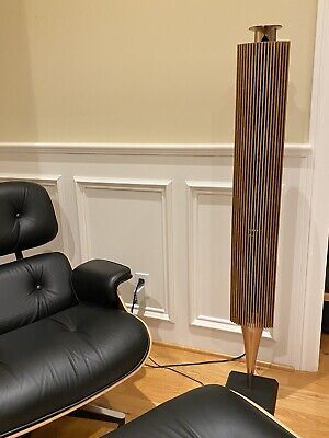 Bang & Olufsen Beolab 18 & 19 speakers and woofer, brass & oak lamellas