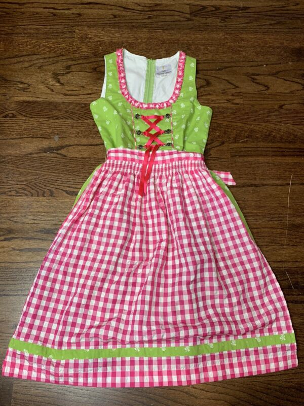Ramona Lippert Girls Children Pink Green White Dots Sz US 12 (146/152) Dirndl