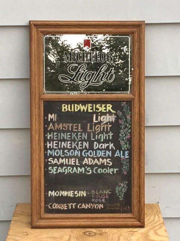 Vintage 1983 31x18in Michelob Beer Chalkboard Mirror Sign