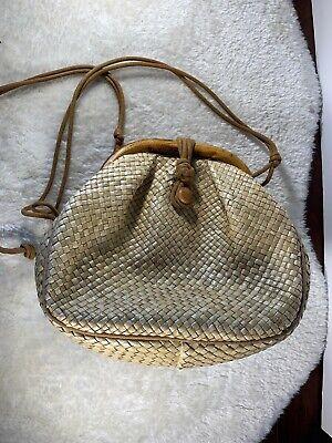 Vintage Neiman Marcus Handbag Woven Bamboo Purse Cream Tan Bamboo Vintage Handbag