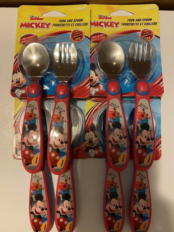 2 Sets Disney Junior Mickey Mouse Fork & Spoon Baby Kids Children Silverware