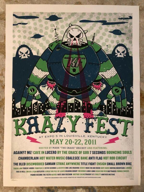 KrazyFest Tour 2011 print Against Me! Lucero Bane Title Fight Tigers Jaw