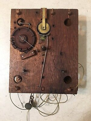Antique Terry Era Wooden Works Clock Movement Oliver Weldon Tag