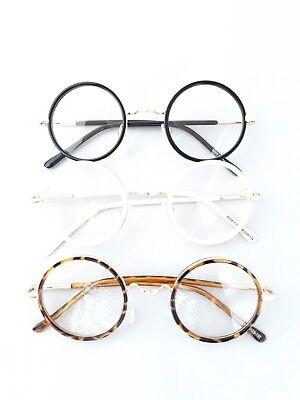 Brille Rund John Lennon Nickelbrille 70er Vintage Hippie Streber Klarglas fab128