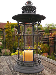 Antique French Vintage Style 40cm Large Fishermans Garden Lantern Candle Hold